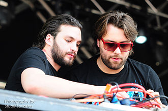 Steve Angello - Angello (left) with Sebastian Ingrosso performing in Wellington Square