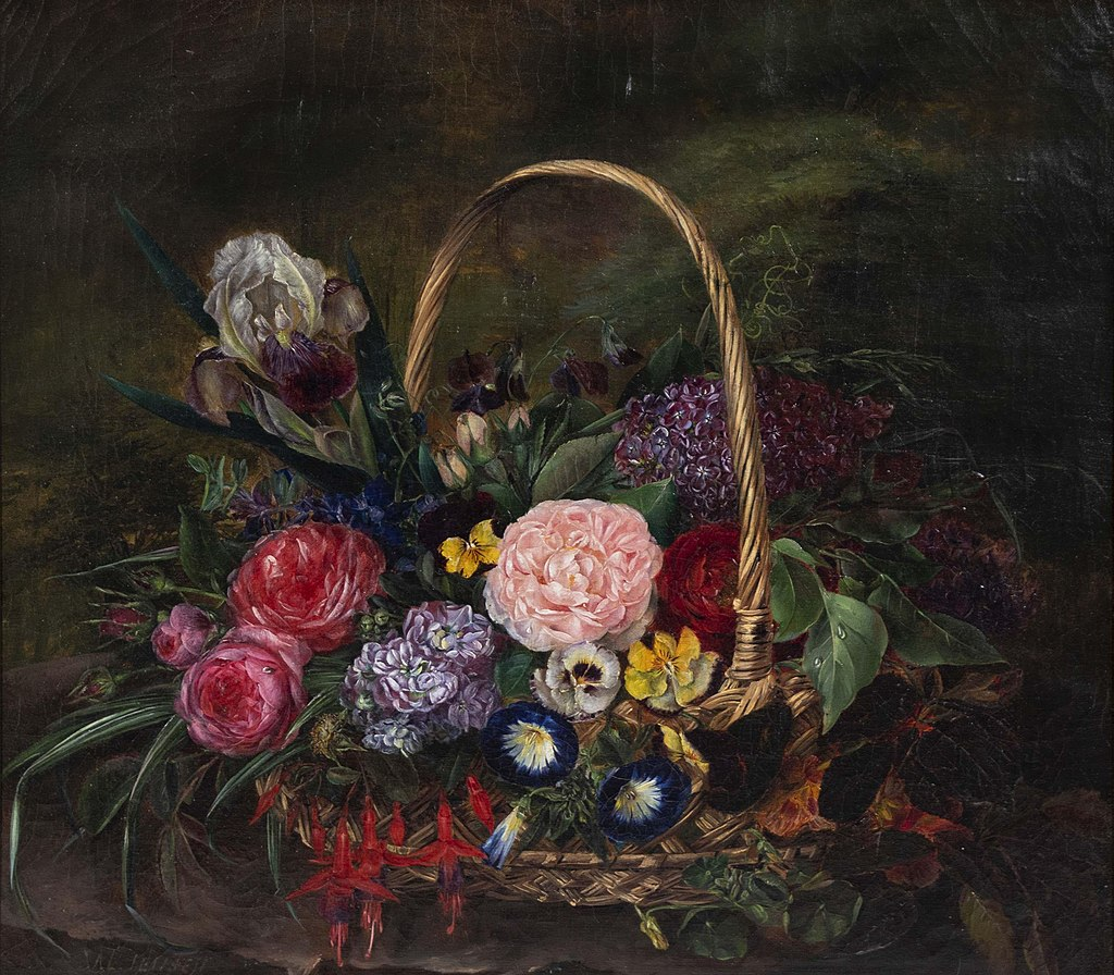 Still Life with Flowers in a Basket by Johan Laurentz Jensen, oil on canvas.jpg