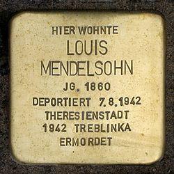 Photo of Louis Mendelsohn brass plaque