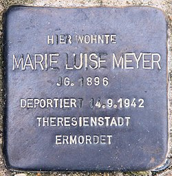 Photo of Marie Luise Meyer brass plaque
