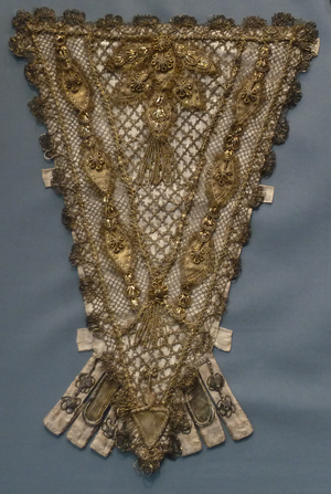 Stomacher - Stomacher, France, 1700–1750. Silk satin with metallic-thread lace, appliqués, passementerie and tassels. Los Angeles County Museum of Art M.67.8.99