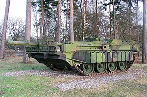 Hull-down - Swedish Stridsvagn 103 was designed to be nearly invisible in a hull-down position.
