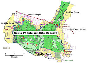 Map showing the location of Sukla Phanta Wildlife Reserve