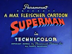 Superman (1940s cartoons) - The title card from the first Superman animated short produced by Fleischer Studios.