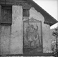 Sv. Krištof na steni hiše pri Hlipču, Plužnje 15 (hiša je bila narejena leta 1856, tedaj tudi naslikan Sv. Krištof) 1954.jpg