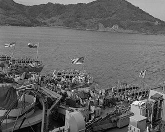 USS Groton (PF-29) - Image: T Acoma class frigates fantails Korea 1952