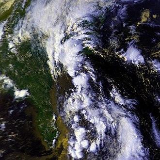1987 Atlantic hurricane season - Image: TD 9L 7 sept 1987 1950Z