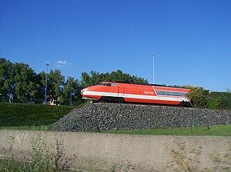 TGV 001 - T 001 seen from the A4 motorway in Bischheim.