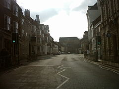 Looking from Bridge Street towards the High Street and the John Smith's brewery.