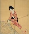 TakehisaYumeji-LateTaishō-Woman Playing Shamisen.png