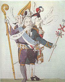 Dessin colorié représentant un corps de face, à cinq têtes, portant chacune une coiffe différente et une bulle différente qui sort de la bouche. Plusieurs costumes sont également juxtaposés. Le bras à gauche tient une crosse d'évêque, le bras à droite un bâton portant des graffitis.