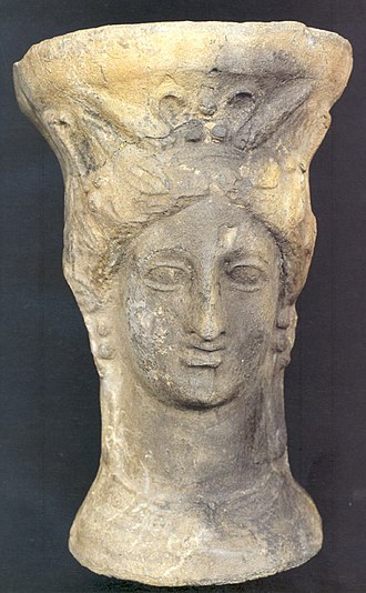 Puntal dels Llops - Incense-burner (pebetero) in the shape of the head of the goddess Demeter/Tanit. 3rd century BC, Puntal dels Llops