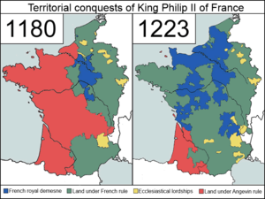 Crown lands of France - The territorial conquests of Philip Augustus of France, at the time of his coronation (1180) and at the time of his death (1223).