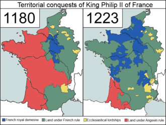 France in the Middle Ages - The territorial conquests of Philip Augustus of France, at the time of his birth (1180) and at the time of his death (1223).