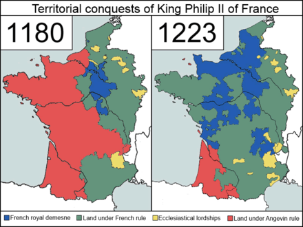 Territorial development under Philip August (Philip II), 1180-1223 Territorial Conquests of Philip II of France.png