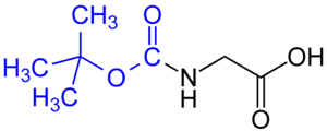 Protecting group - BOC glycine. The tert-butyloxycarbonyl group is marked blue.