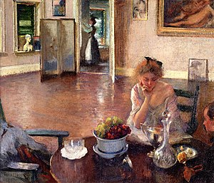 "Boston School (painting) - ""The Breakfast Room"" by Edmund C. Tarbell, ca. 1902"