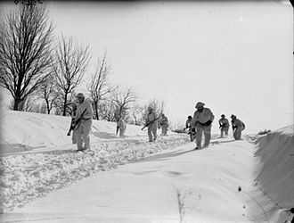 3rd Division (United Kingdom) - Men of the 2nd Battalion, East Yorkshire Regiment on exercise wearing snow suits, 4 February 1940.