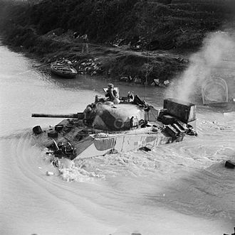 7th Armoured Division (United Kingdom) - A Sherman tank of the 4th County of London Yeomanry fording the Volturno river at Grazzanise, Italy, 17 October 1943.