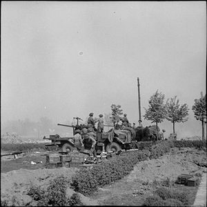 120th Light Anti-Aircraft Regiment, Royal Artillery - SP Bofors, seen here in action against German positions in April 1945.
