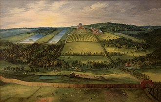 Mariemont, Belgium - Painting of the Castle of Mariemont by Jan Brueghel the Elder in 1612
