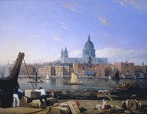 Puddle Dock - View of docks on the north bank of River Thames, with St Paul's Cathedral behind, in the 1820s. Puddle Dock is situated at the far left.