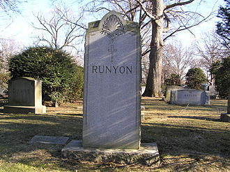 Damon Runyon - The family plot of Damon Runyon in Woodlawn Cemetery