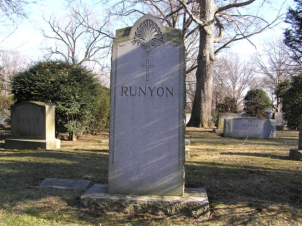 The Family Plot of Damon Runyon in Woodlawn Cemetery