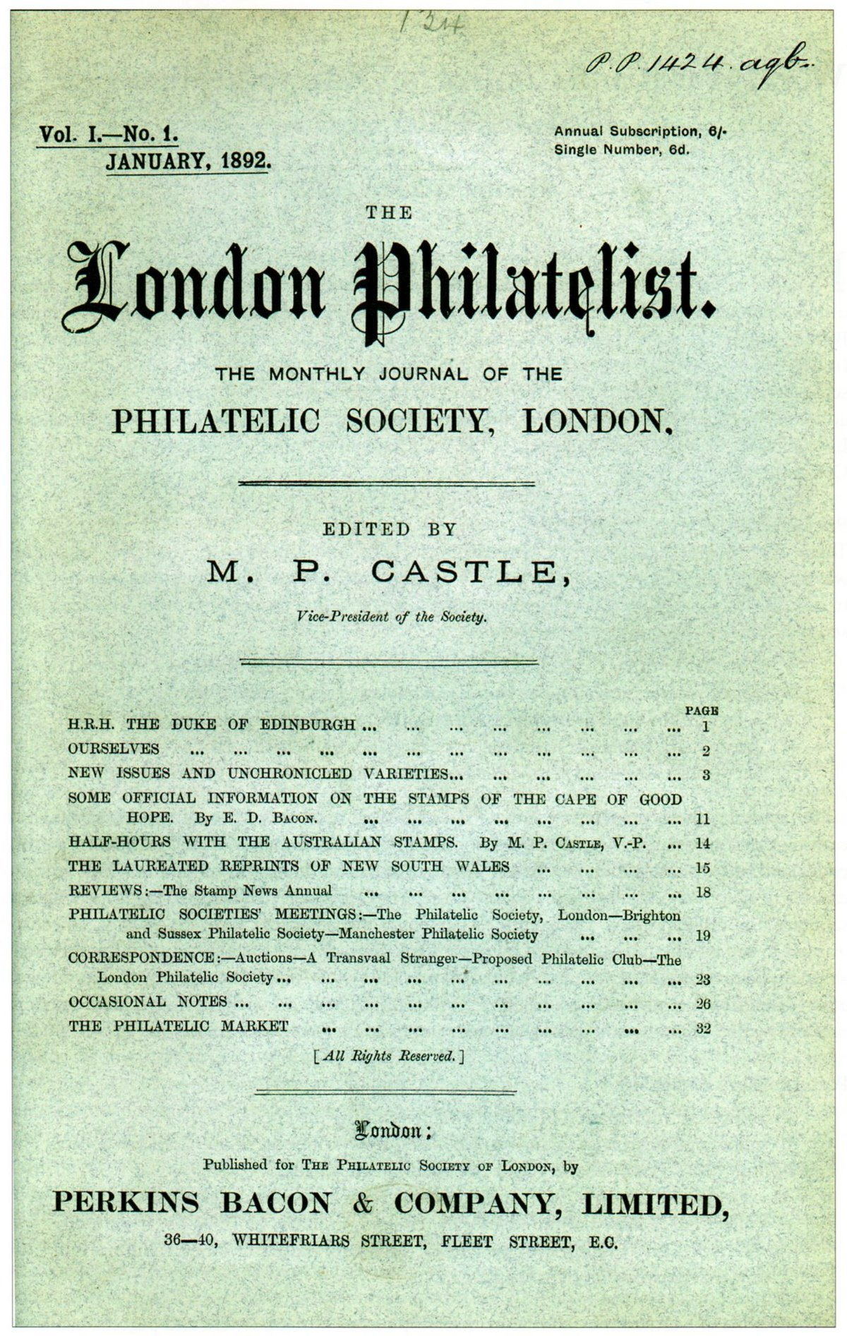 Image result for london philatelist 1892