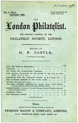 Royal Philatelic Society London - The front cover of the first number of The London Philatelist, Vol. 1, No. 1, January 1892.