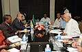The Minister of Education of the Republic of Mozambique, Mr. Zeferino Alexandre Martins along with a delegation calls on the Union Minister for New and Renewable Energy, Dr. Farooq Abdullah, in New Delhi on July 14, 2011.jpg