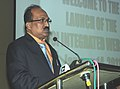 The Minister of State for Agriculture, Consumer Affairs, Food & Public Distribution, Prof. K.V. Thomas addressing at the launch of the integrated website of the Food Corporation of India, in New Delhi on January 14, 2011.jpg