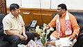 The Minister of Welfare of Plain Tribes, Assam, Shri Chandan Brahma meeting the Union Minister for Tribal Affairs, Shri Jual Oram, in New Delhi on August 07, 2018.JPG