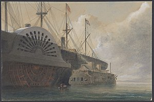 HMS Iris (1840) - Image: The Old Frigate Iris with Her Freight of Cable Alongside the Great Eastern at Sheerness The Cable Passed from the Hulk to the Great Eastern MET DP801251