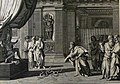 The Phillip Medhurst Picture Torah 301. Rod of Aaron turned into a serpent. Exodus cap 7 vv 7-10-12. Le Clerc.jpg