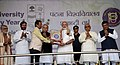 The Prime Minister, Shri Narendra Modi being presented a memento, at the Centenary Celebrations of Patna University, in Patna, Bihar.jpg