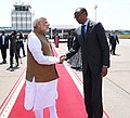 The Prime Minister, Shri Narendra Modi being seen off by the President of Rwanda, Mr. Paul Kagame, as he emplanes for Uganda from Rwanda on July 24, 2018 (1).JPG