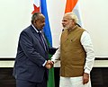 The Prime Minister, Shri Narendra Modi meeting the President of Djibouti, Mr. Ismail Omar Guelleh, on the sidelines of the International Solar Alliance (ISA) Summit, in New Delhi on March 11, 2018.jpg