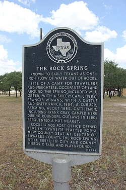 The rock spring, rocksprings, texas historical marker (7946609682)