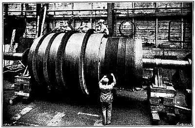 The Steam Turbine, 1911 - Fig 20 - Blading a Turbine at the Turbinia Works.jpg