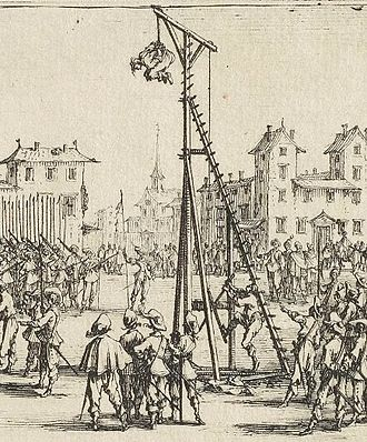 Strappado - The Strappado, used as public punishment, detail of plate 10 of Les Grandes Misères de la guerre by Jacques Callot, 1633