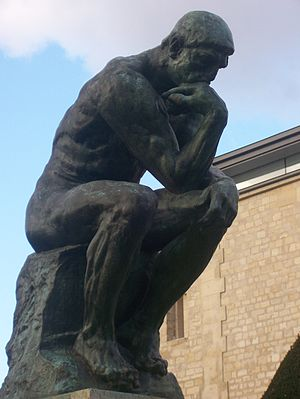 Close shot of Rodin's The Thinker at the Musée...