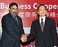 The Union Minister for Commerce and Industry, Shri Anand Sharma with the Chinese Premier, Mr. Wen Jiabao, at the India-China Business Co-operation Summit, in New Delhi on December 15, 2010.jpg