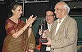 The Union Minister of Tourism and Culture, Smt. Ambika Soni presenting the Travelers Diamond Awards to the noted film maker, Shri Yash Chopra, in New Delhi on August 25, 2008.jpg