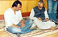 The Vice President Shri Bhairon Singh Shekhawat writing the condolence message in the presence of Shri Sanjay Dutt.jpg