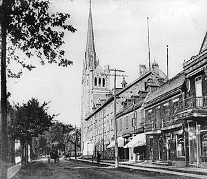 The church and Rue St. Charles, Longueuil, QC, about 1910