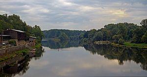 Mělník - Image: The confluence of the rivers Vltava and Labe near Melnik castle, Czech Republic