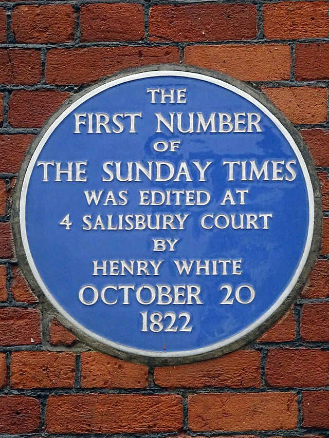 Photo of The Sunday Times and Henry White blue plaque