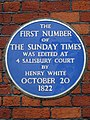 The first number of The Sunday Times was edited at 4 Salisbury Court by Henry White October 20 1822.jpg
