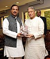 The renowned artist, Shri Amjad Ali Khan meeting the Minister of State for Culture (Independent Charge), Tourism (Independent Charge) and Civil Aviation, Dr. Mahesh Sharma, in New Delhi on March 24, 2015.jpg